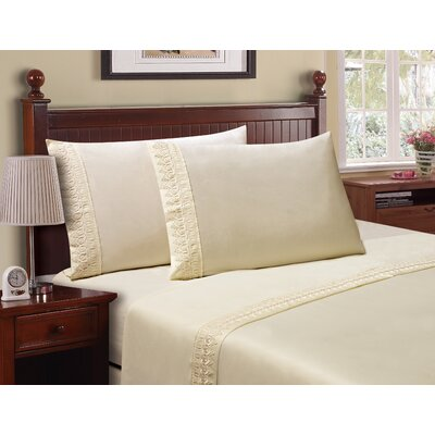 Luxe Venice Lace 1800 Microfiber Sheet Set Size: King, Color: Ivory
