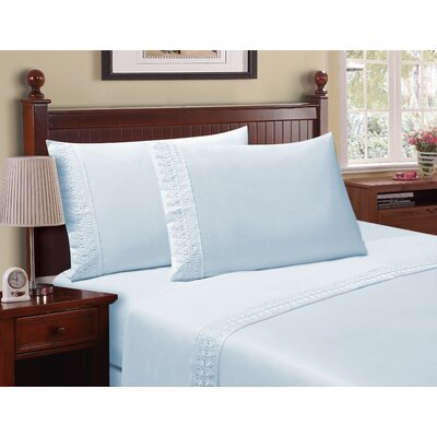 Luxe Venice Lace 1800 Microfiber Sheet Set Size: Full, Color: Blue