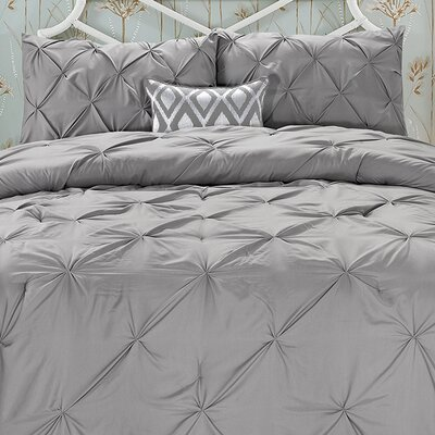 Cathay Home, Inc Swift Home Pintuck Comforter Set - Color: Grey, Size: Full / Queen