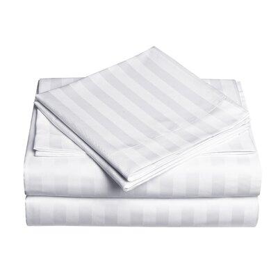 Premium Quality Dobby Stripe Sheet Set Size: Full, Color: White