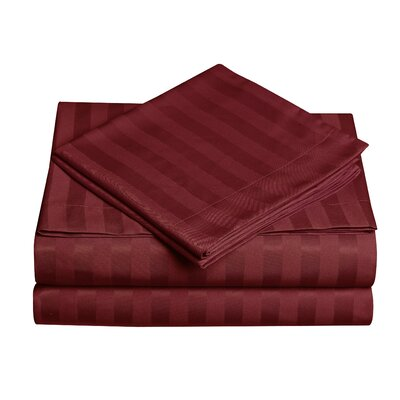 Premium Quality Dobby Stripe Sheet Set Size: Twin, Color: Burgundy