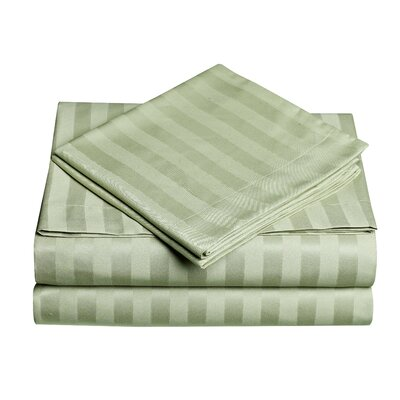 Premium Quality Dobby Stripe Sheet Set Color: Sage, Size: Full