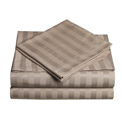Premium Quality Dobby Stripe Sheet Set Color: Dark Cream, Size: Full