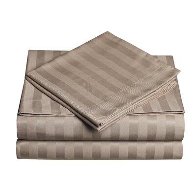 Premium Quality Dobby Stripe Sheet Set Size: Full, Color: Dark Cream