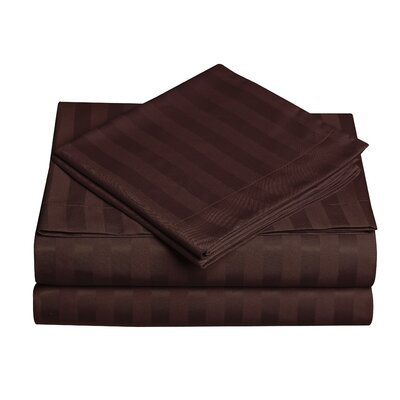 Premium Quality Dobby Stripe Sheet Set Color: Chocolate Brown, Size: Queen