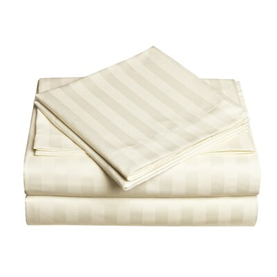 Premium Quality Dobby Stripe Sheet Set Color: Ivory, Size: Queen