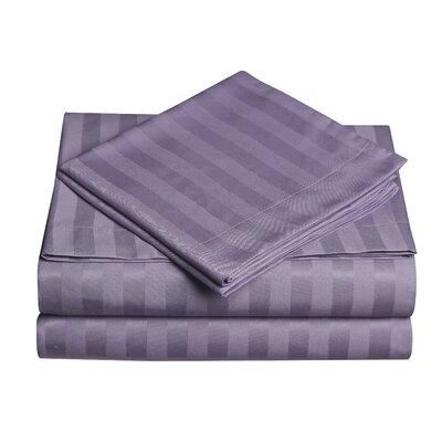 Premium Quality Dobby Stripe Sheet Set Size: King, Color: Dusty Plum