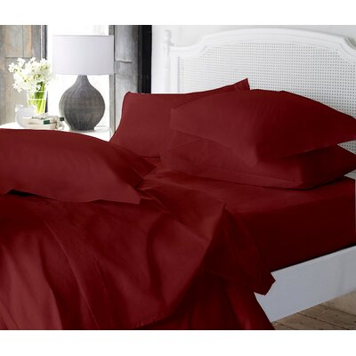 Clarke Super Soft Fitted Sheet Color: Burgundy, Size: Queen