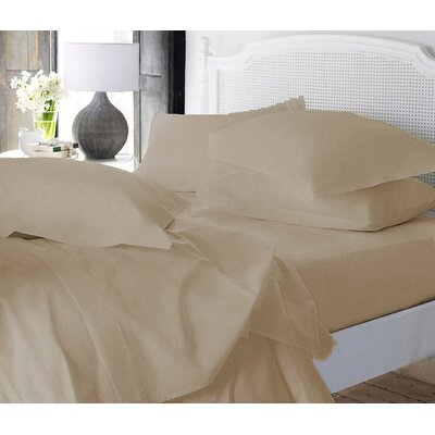 Clarke Super Soft Fitted Sheet Color: Cream, Size: Queen