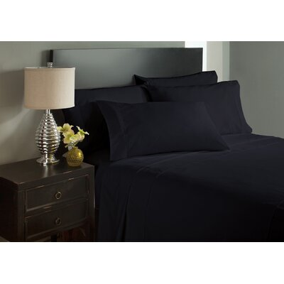 Dahlin Microfiber Flat Sheet Size: Twin, Color: Black