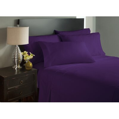 Dahlin Microfiber Flat Sheet Size: King, Color: Eggplant