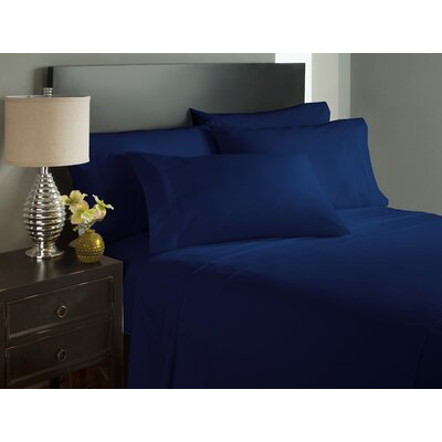Dahlin Microfiber Flat Sheet Size: King, Color: Navy