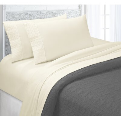 Verwood 4 Piece Quilted Hem Sheet Set Color: Ivory, Size: Full