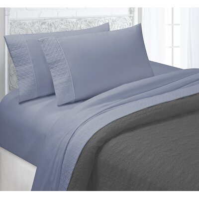 Verwood 4 Piece Quilted Hem Sheet Set Color: Faded Denim, Size: Queen