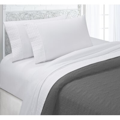 Verwood 4 Piece Quilted Hem Sheet Set Color: White, Size: Full