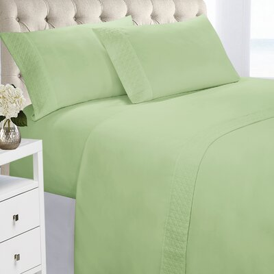 Verwood 4 Piece Quilted Hem Sheet Set Color: Sage Green, Size: Full