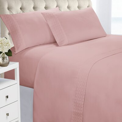 Verwood 4 Piece Quilted Hem Sheet Set Color: Dusty Rose, Size: King