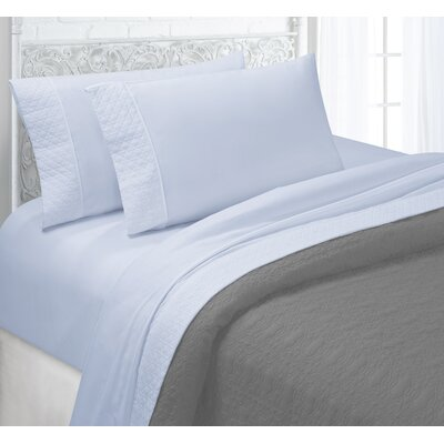 Verwood 4 Piece Quilted Hem Sheet Set Color: Pale Blue, Size: Full