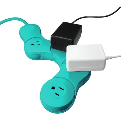 Pivot Power Strip Junior Outlet Finish: Teal