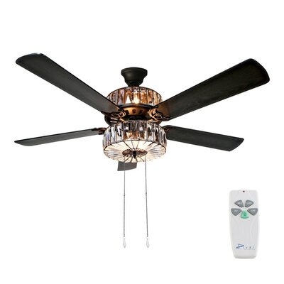52 Caged Crystal 5-Blade Ceiling Fan with Remote
