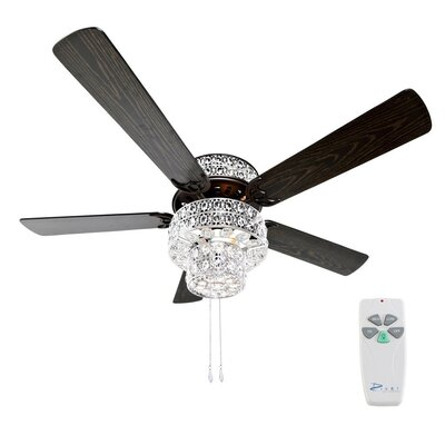 52 Punched Metal Crystal 5-Blade Ceiling Fan with Remote Finish: Silver/Clear