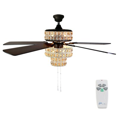 52 Punched Metal Crystal 5-Blade Ceiling Fan with Remote Finish: Antique White/Champagne