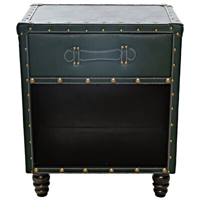 Chelsie Faux Leather Side Table Finish: Moss Green