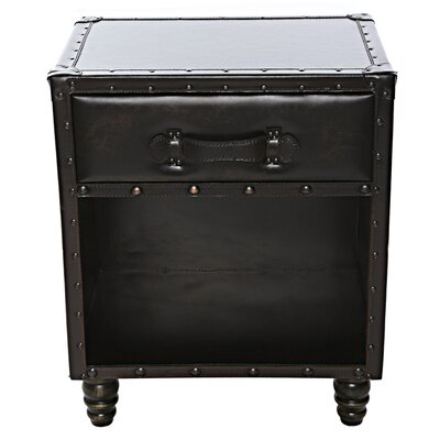 Chelsie Faux Leather Side Table Finish: Chestnut Brown