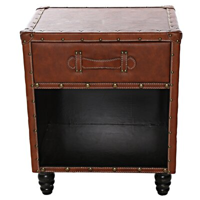 Chelsie Faux Leather Side Table Finish: Cognac