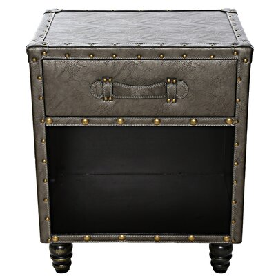 Marceline Faux Leather Side Table Color: Gray