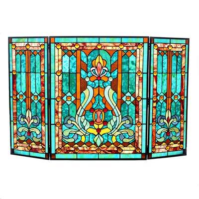 Amboy Fleur de Lis Stained Glass Fireplace Screen