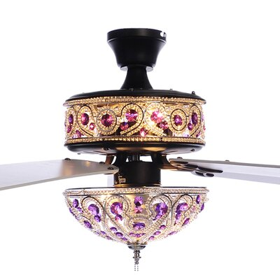 50 Paraiso Chandelier Crystal 5 Blade Ceiling Fan with Remote