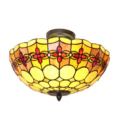 Paule Tiffany Style Stained Glass Geometric Rosette 2-Light Semi Flush Mount