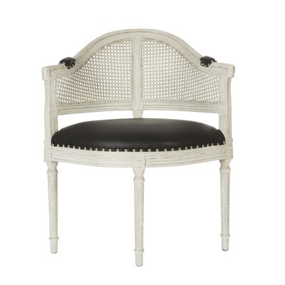 Blue Cane Back Occasional Barrel Chair Upholstery: Parker Gray, Finish: Silver