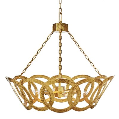 Hammered Tilted Circle Candle-Style Chandelier Finish: Gold
