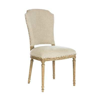 Chelsea Upholstered Dining Chair (Set of 2) Leg Color: Barnwood, Upholstery Color: Textured Linen