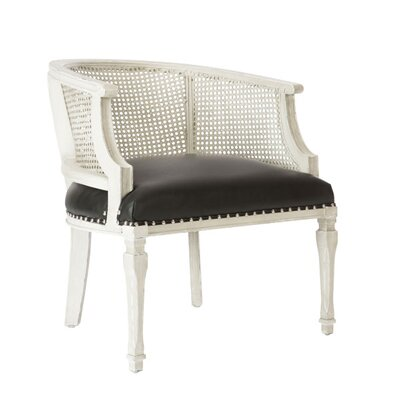 Mary Katherine Barrel Chair Upholstery: White, Finish: Black