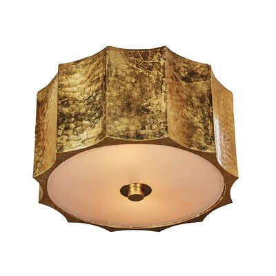 Hammered Metal Star Flush Mount Fixture Finish: Gold, Size: 5 H x 10 W x 10 D