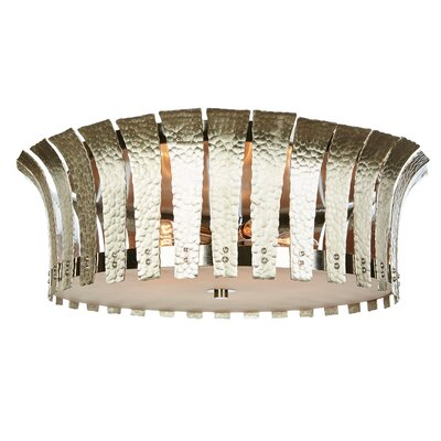 Hammered Terrapin Flush Mount Fixture Finish: Nickel, Size: 7 H x 22 W x 22 D