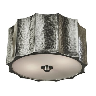 Hammered Metal Star Flush Mount Fixture Finish: Nickel, Size: 5 H x 10 W x 10 D