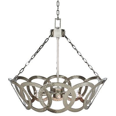 Hammered Tilted Circle Candle-Style Chandelier Finish: Nickel