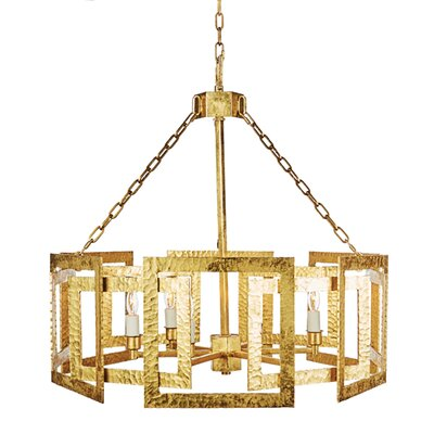 Hammered Metal Octagonal Candle-Style Chandelier Finish: Gold