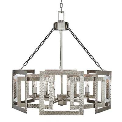 Hammered Metal Octagonal Candle-Style Chandelier Finish: Nickel