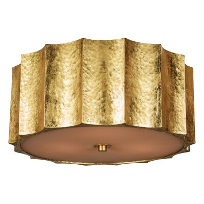 Hammered Metal Star Flush Mount Fixture Finish: Gold, Size: 7 H x 16 W x 16 D