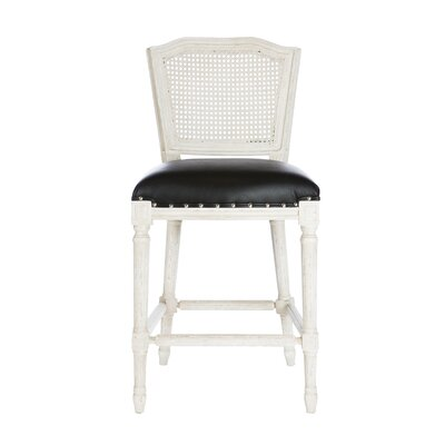 Ethan Bar Stool Color: Parker Gray, Upholstery: Mattle Black
