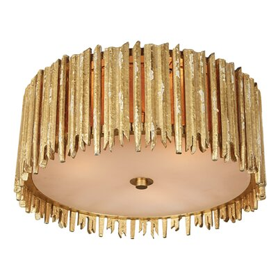 Crown and Glory Flush Mount Fixture Finish: Distressed Gold, Size: 7.13 H x 16 W x 16 D