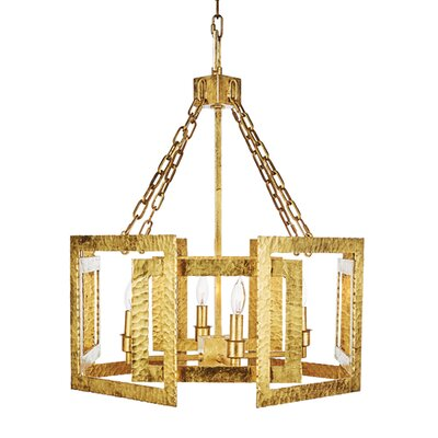 Hammered Metal Hexagon Candle-Style Chandelier
