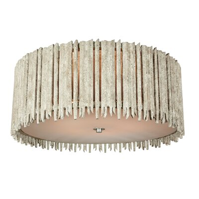 Crown and Glory Flush Mount Fixture Finish: Distressed White, Size: 9.3 H x 22 W x 22 D
