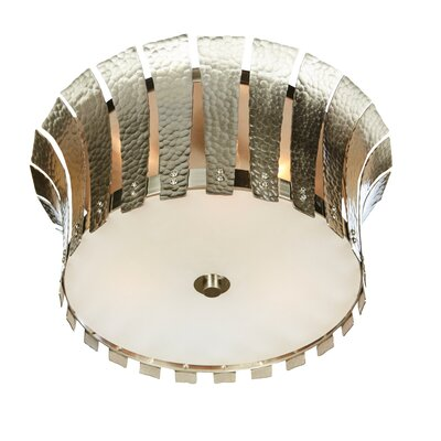 Hammered Terrapin Flush Mount Fixture Finish: Nickel, Size: 7 H x 16 W x 16 D
