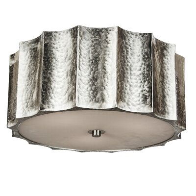 Hammered Metal Star Flush Mount Fixture Finish: Nickel, Size: 7 H x 16 W x 16 D